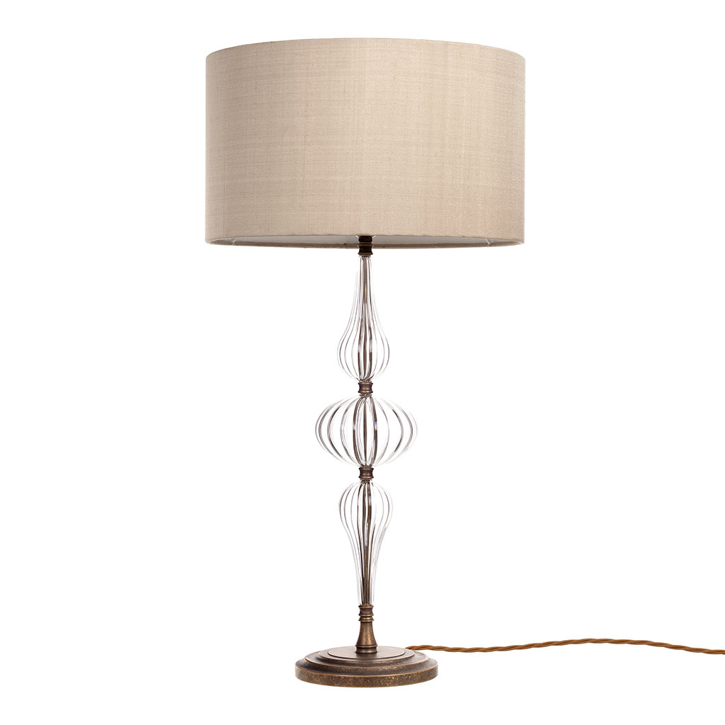 Seymour Fluted Glass Table Lamp in Antiqued Brass