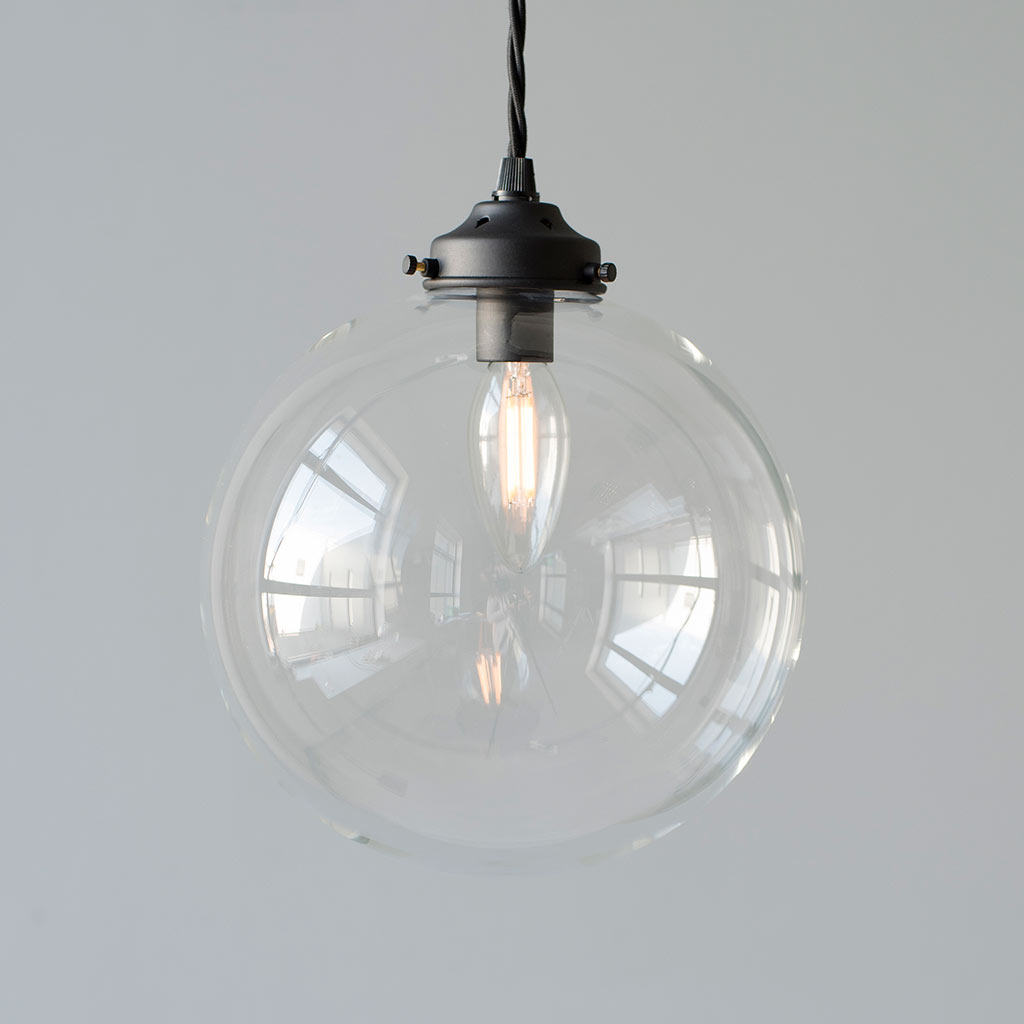 Holborn Glass Pendant Light in Matt Black