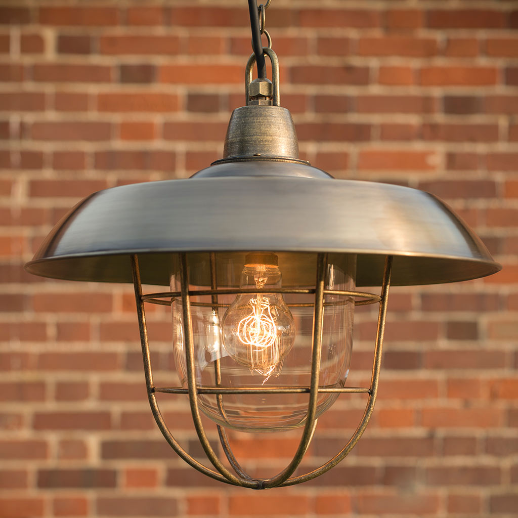 Tilbury Outdoor Pendant Light in Antiqued Brass