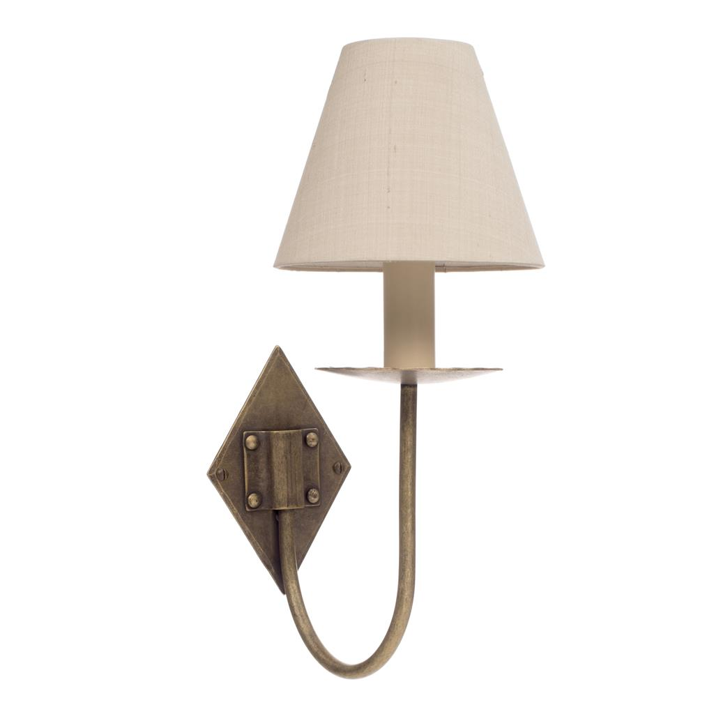 Single Diamond Wall Light in Antiqued Brass