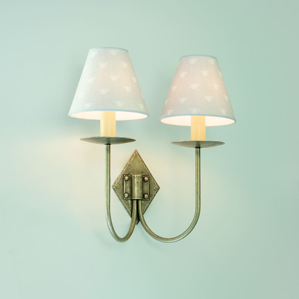 Double Diamond Wall Light in Antiqued Brass