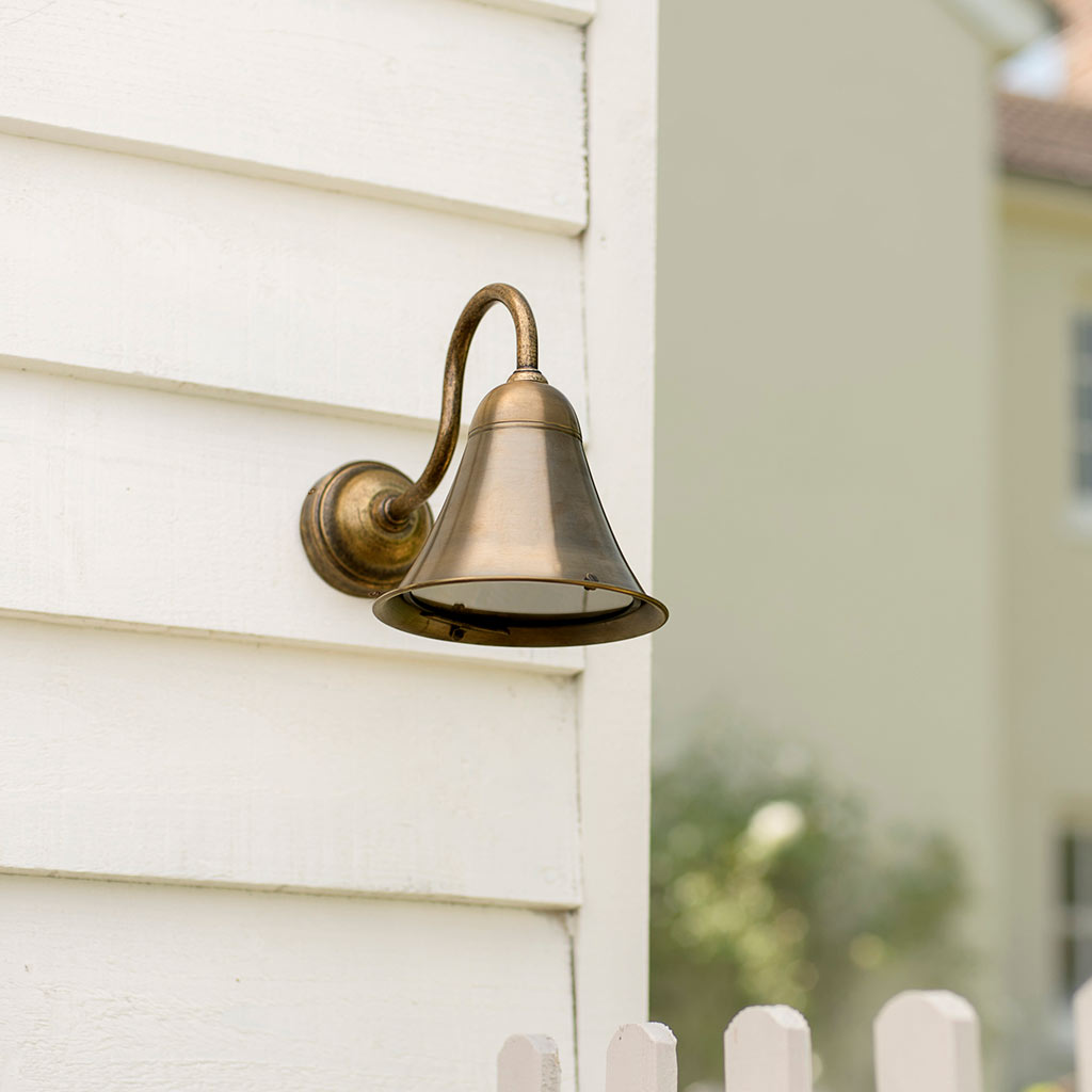 Boathouse Outdoor Wall Light in Antiqued Brass