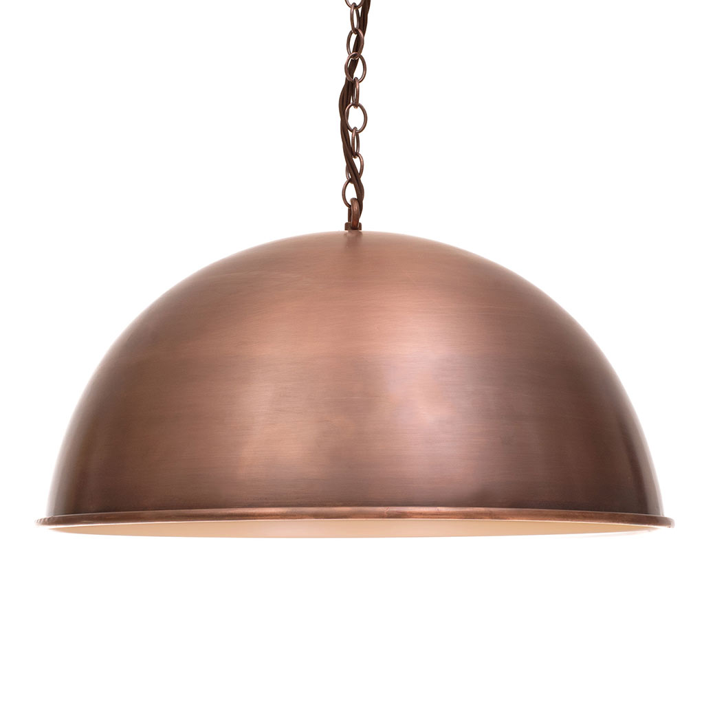 Leiston Pendant Light in Heritage Copper, matching interior