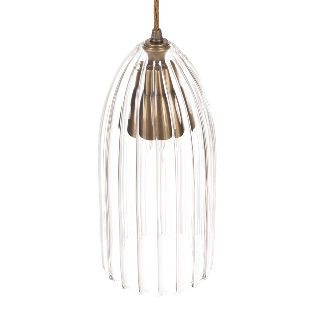 Thornton Glass Pendant Light in Antiqued Brass