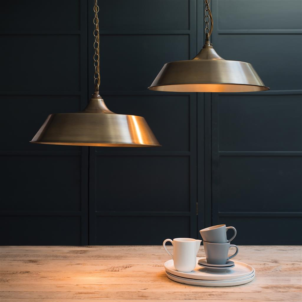 Large Balmoral Pendant Light in Antiqued Brass