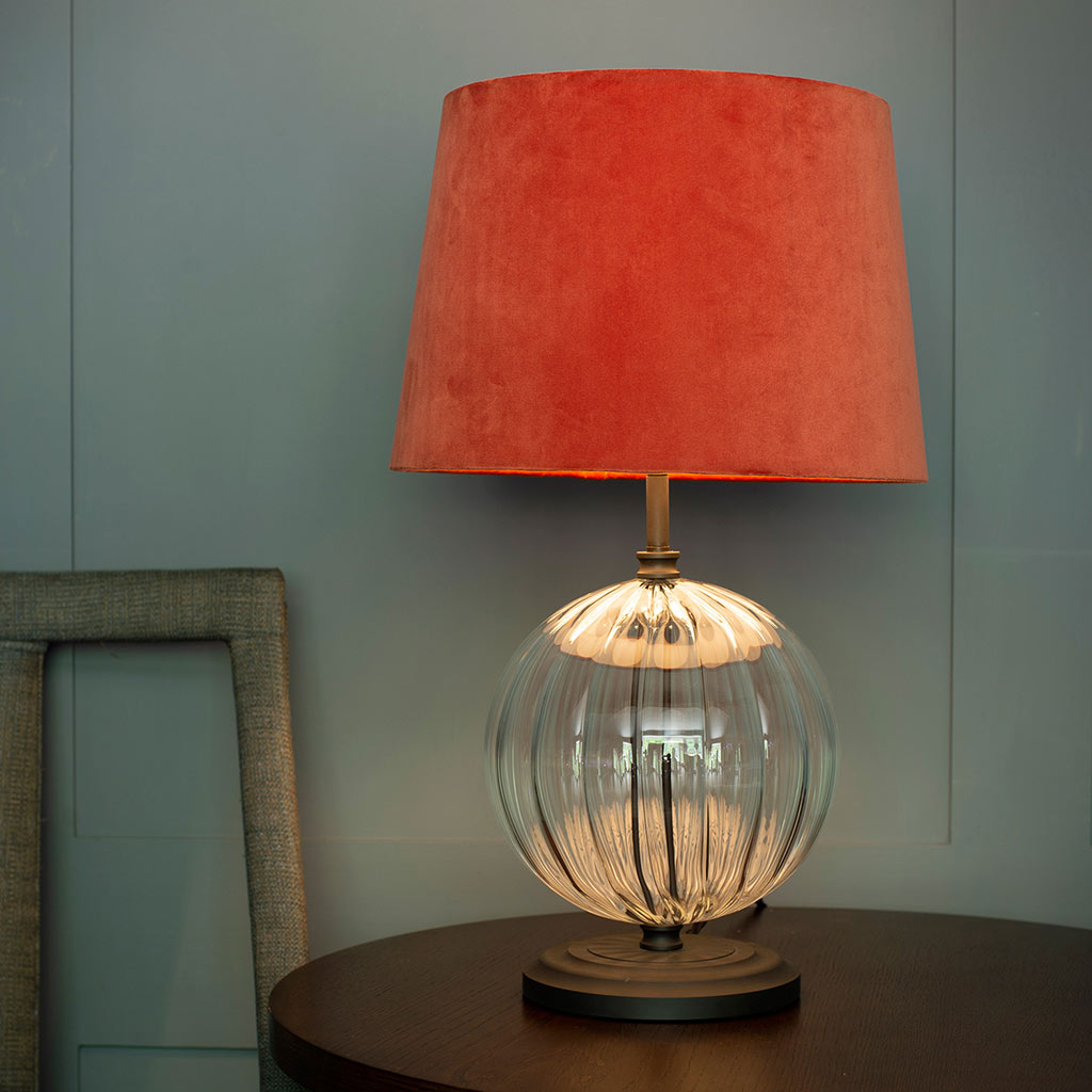 Harleston Table Lamp in Beeswax with Fluted Glass