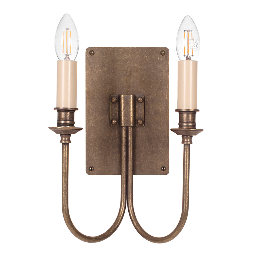 Double Station Wall Light in Antiqued Brass