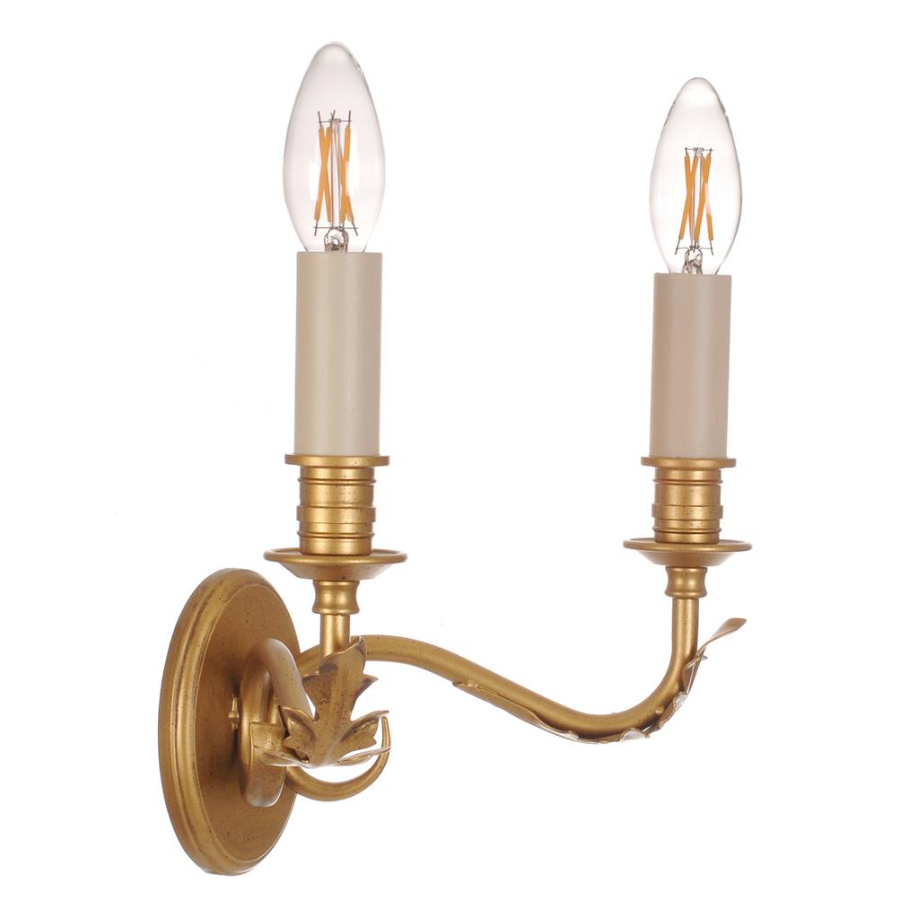Double Fleur Wall Light in Old Gold
