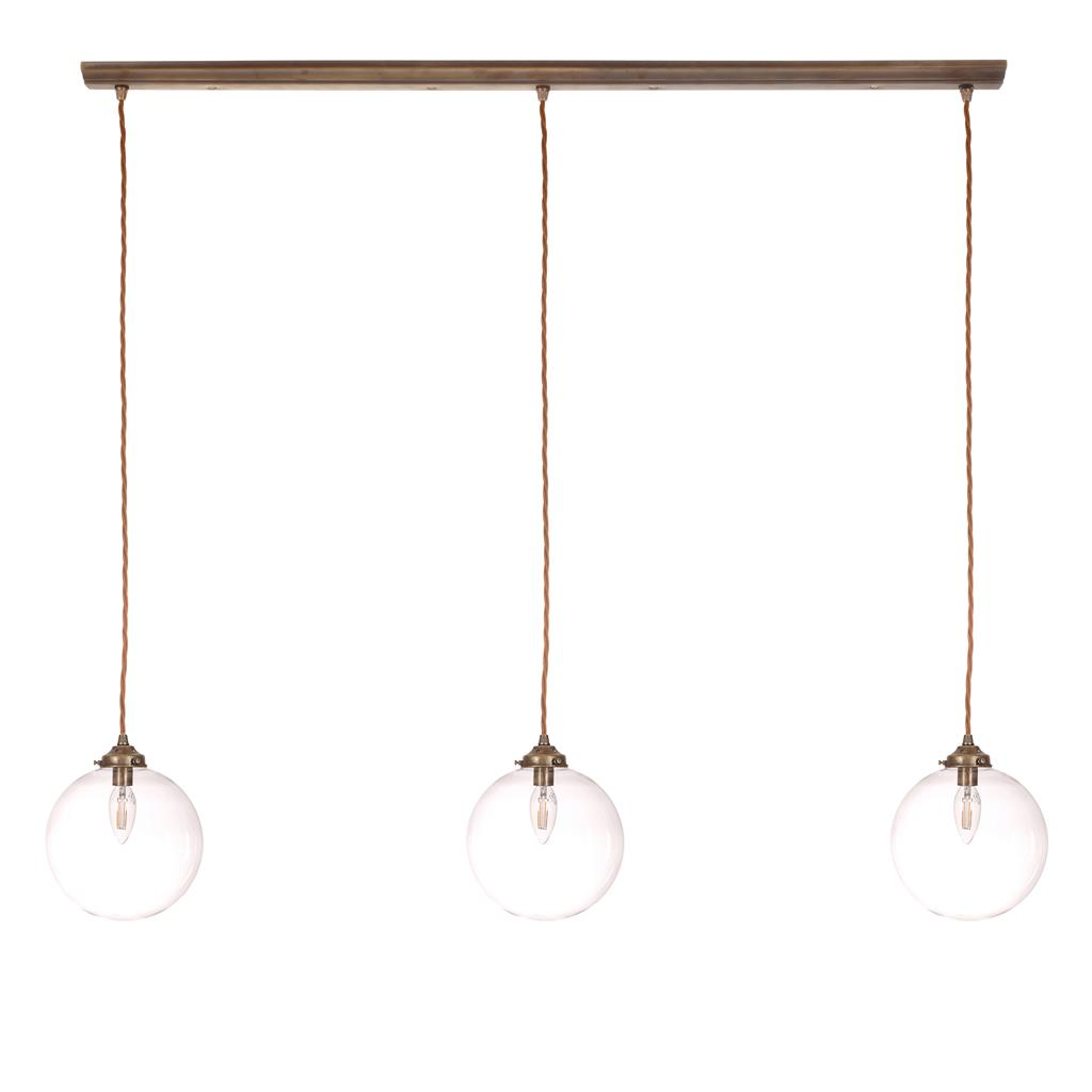 Holborn Triple Pendant Track in Antiqued Brass