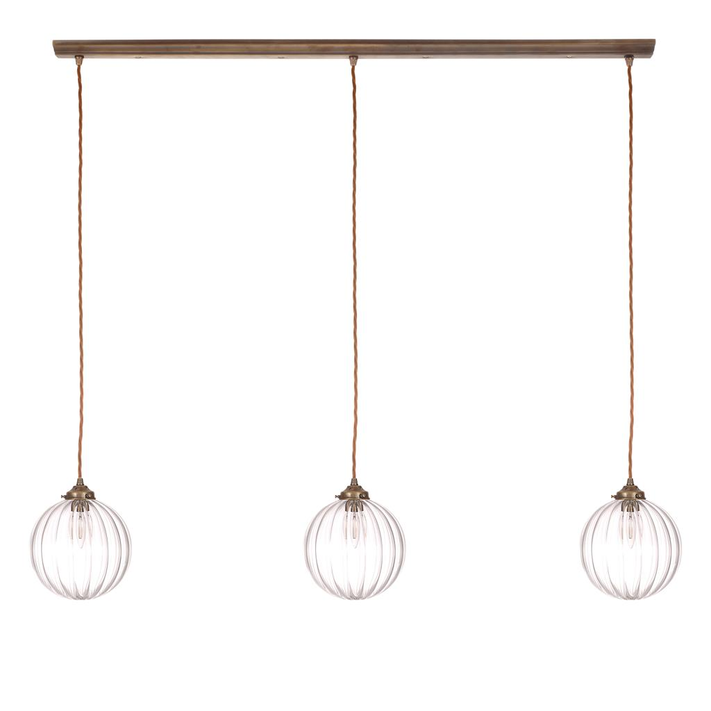 Fulbourn Triple Pendant Track in Antiqued Brass
