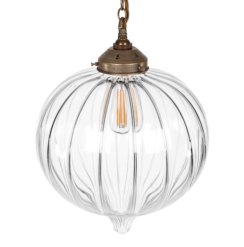 Orla Glass Pendant Light in Antiqued Brass