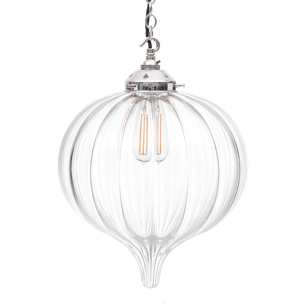Orla Glass Pendant Light in Nickel