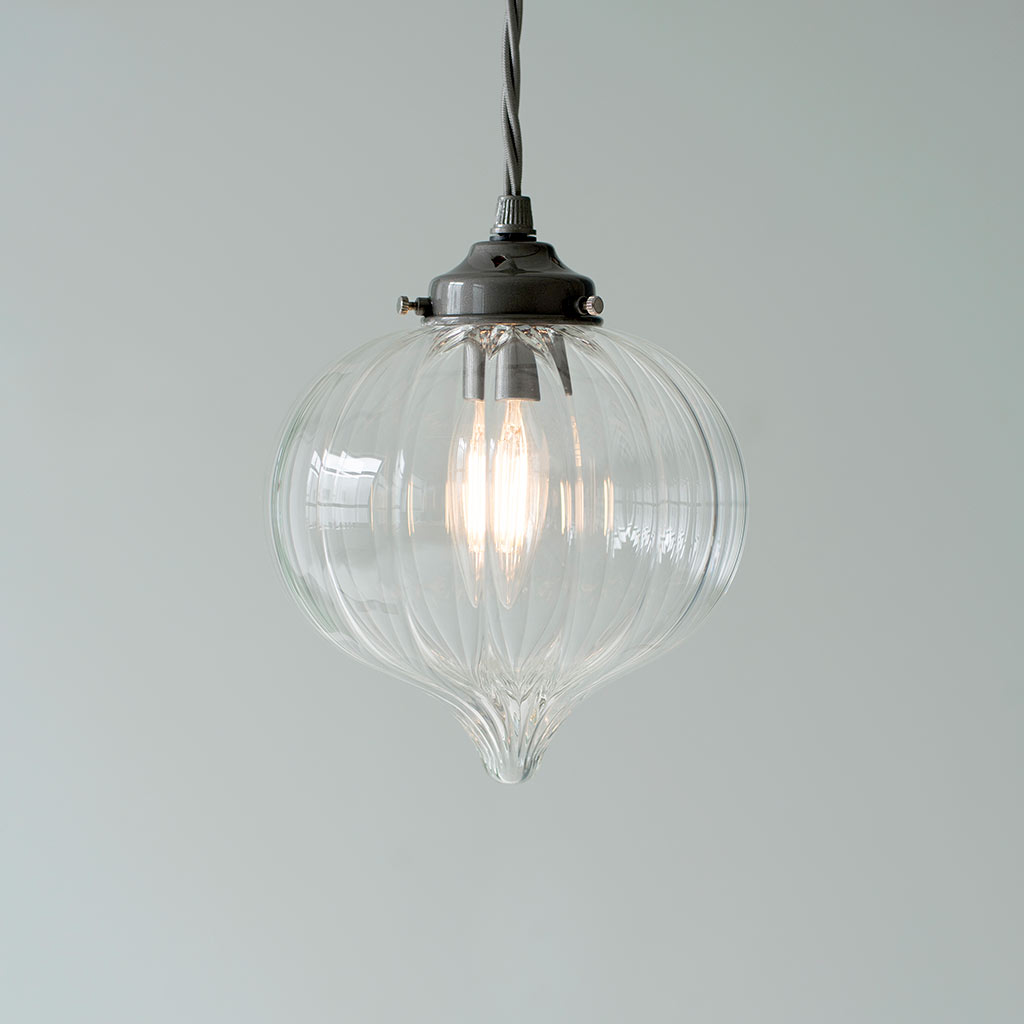 Mia Glass Pendant Light in Polished