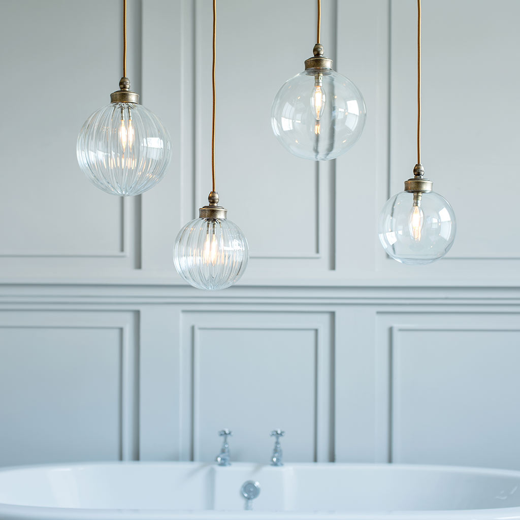 Fulbourn Bathroom Pendant Light in Antiqued Brass