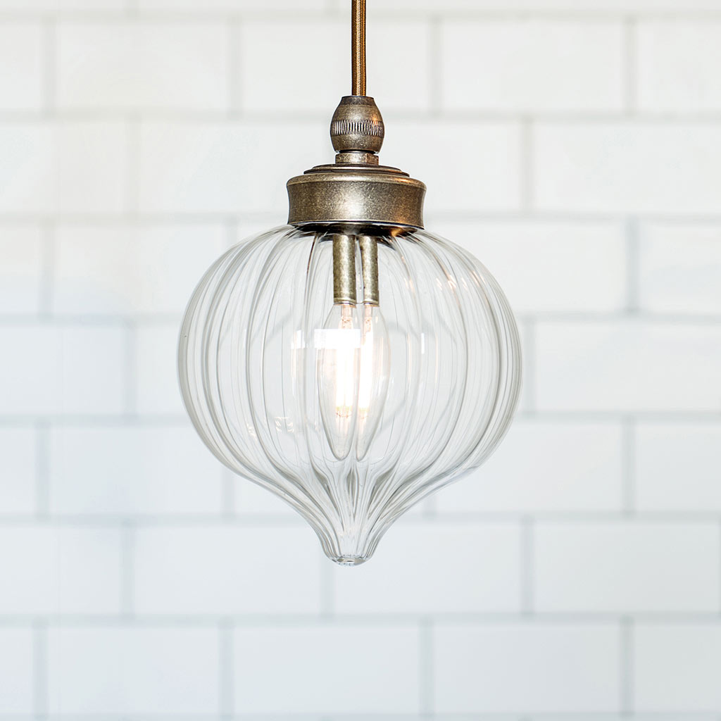 Mia Brass Bathroom Pendant Light Fluted Glass Period
