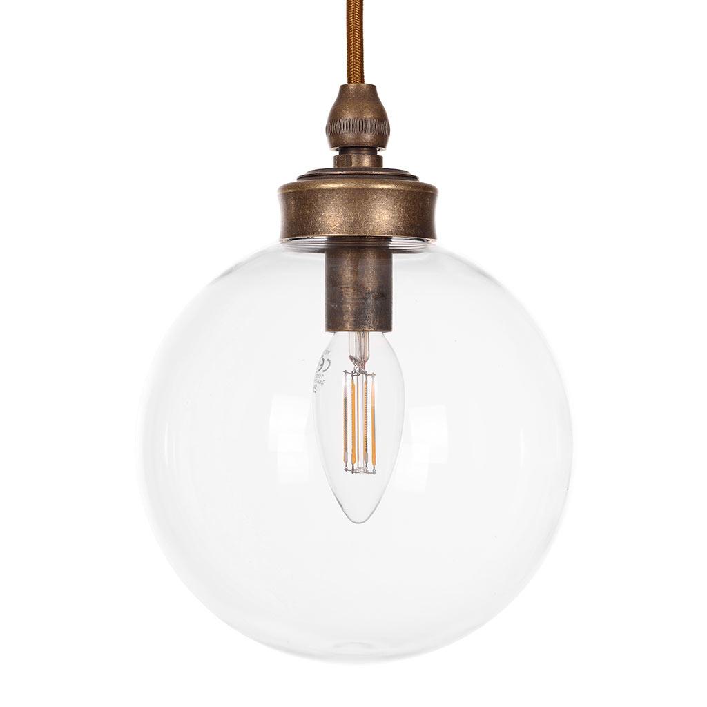 Brass Compton Bathroom Pendant Light Plain Glass