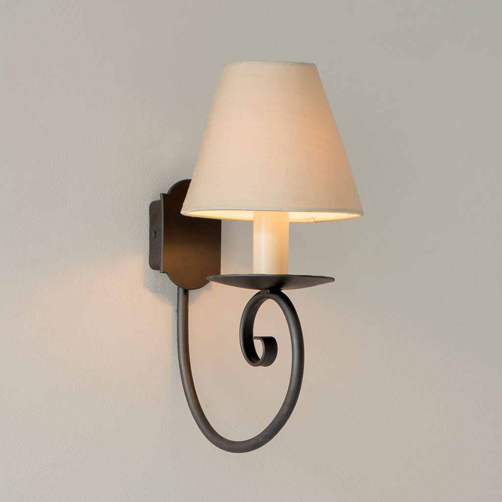 Single Scrolled Wall Light in Beeswax