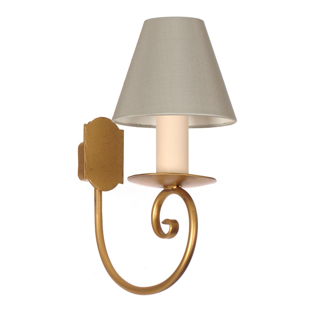 Single Scrolled Wall Light in Old Gold