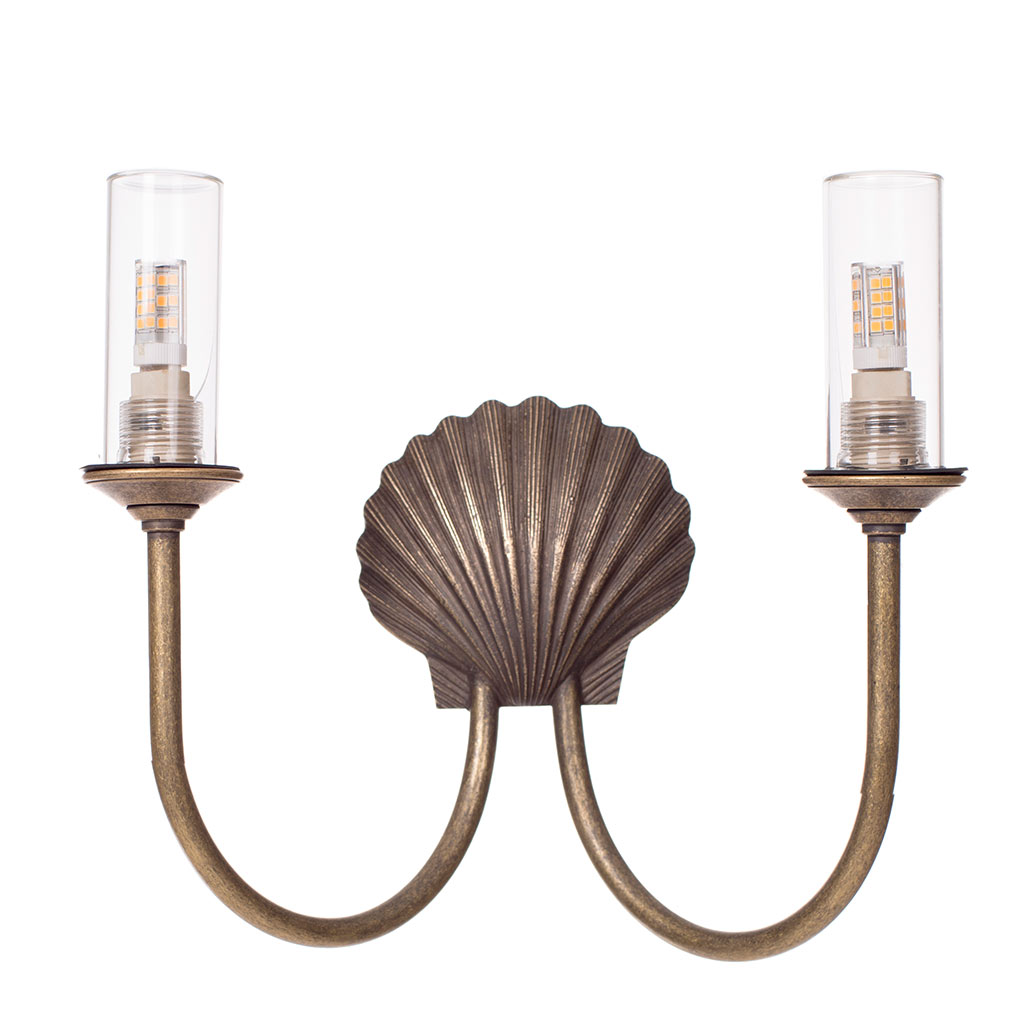 Double Saunton Bathroom Wall Light in AntiquedBrass
