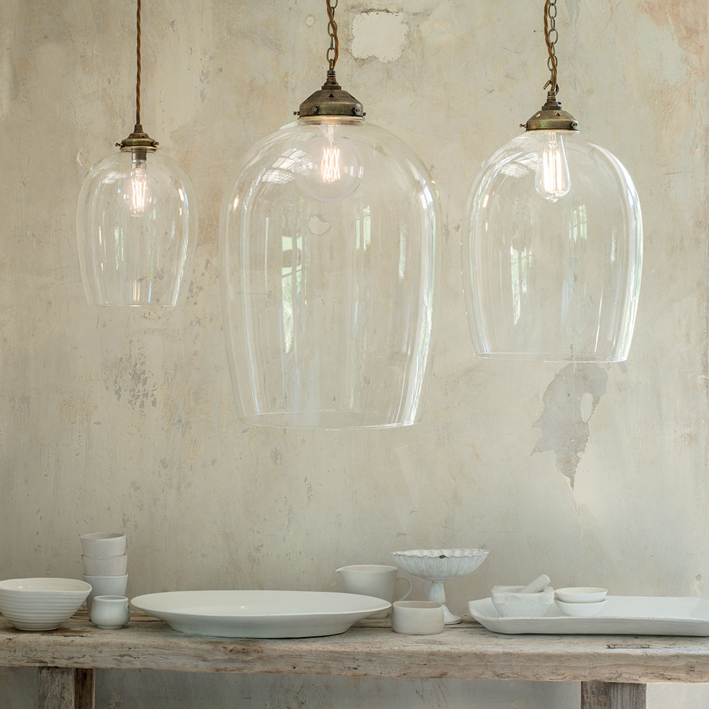 Walcot Glass Pendant Light in Antiqued Brass