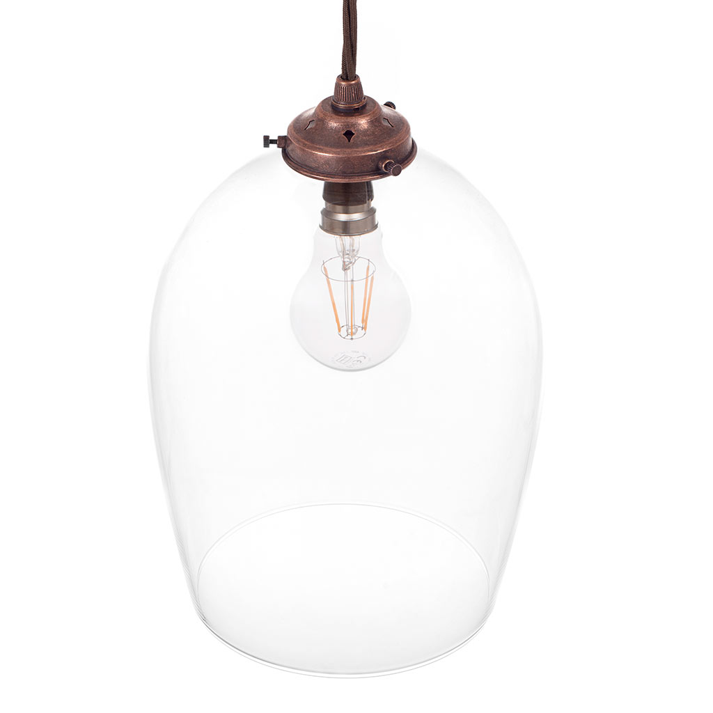 Walcot Glass Pendant Light in Heritage Copper