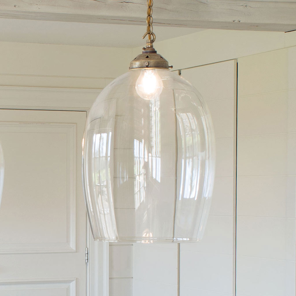 Chalford Glass Pendant Light in Antiqued Brass