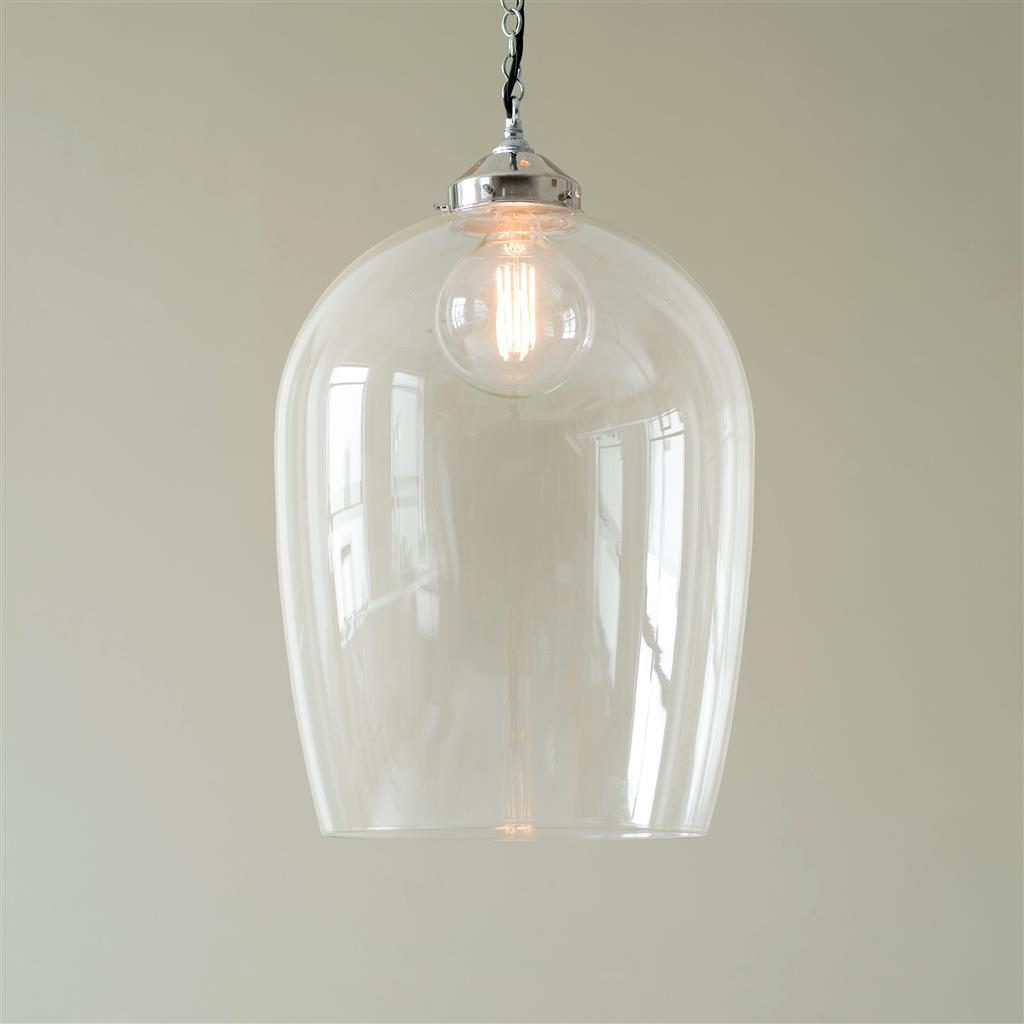 Nickel And Glass Domed Ceiling Pendant