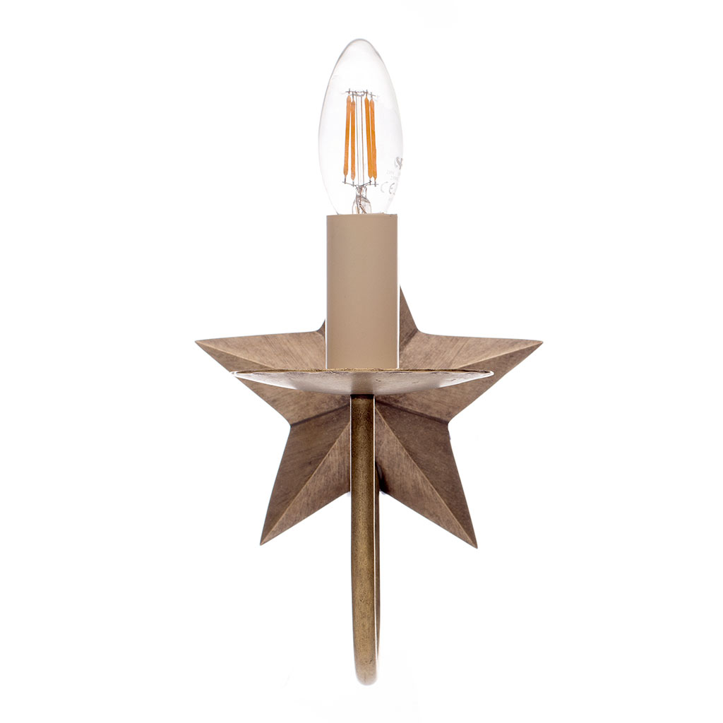 Single Star Wall Light in Antiqued Brass