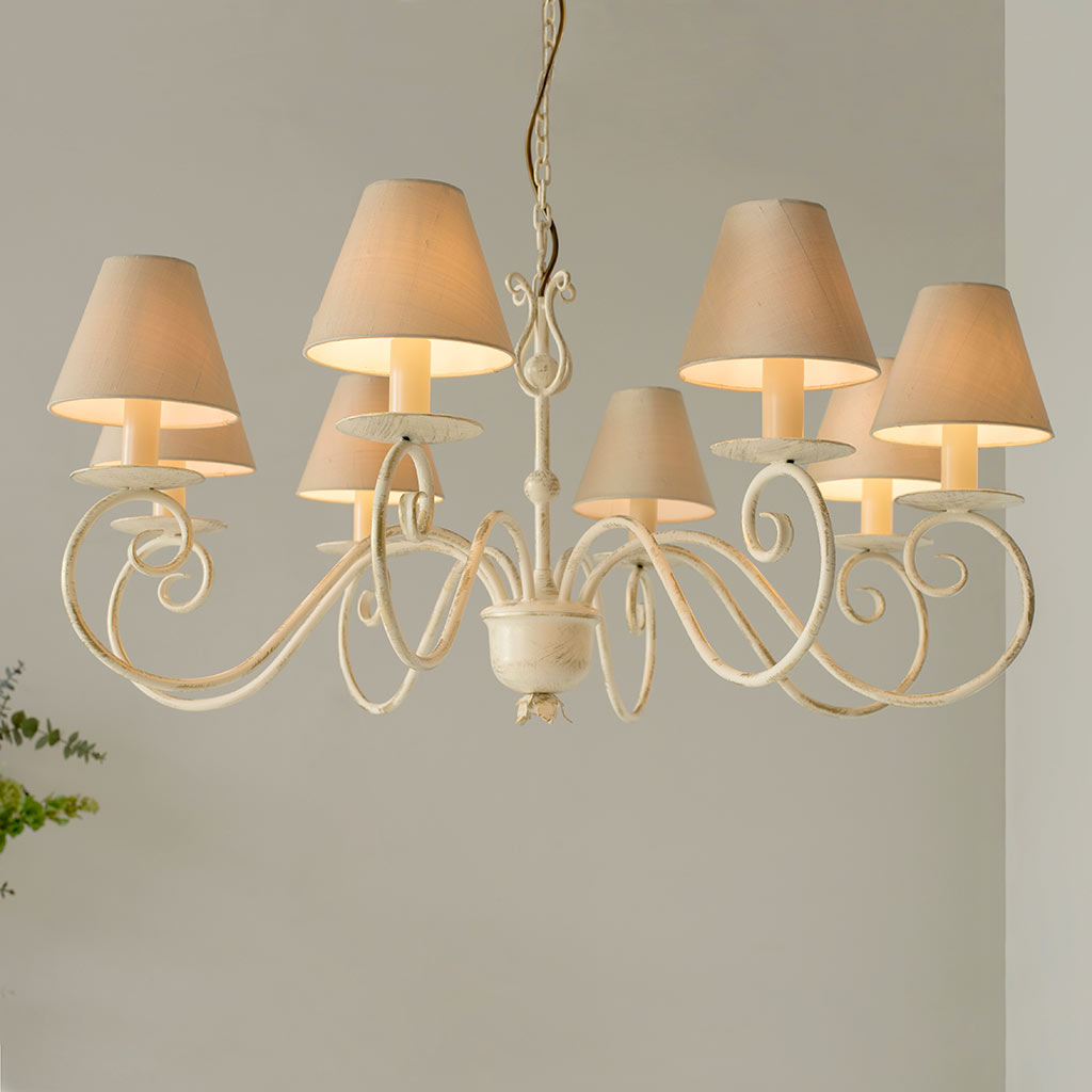 Scrolled Pendant Light in Old Ivory