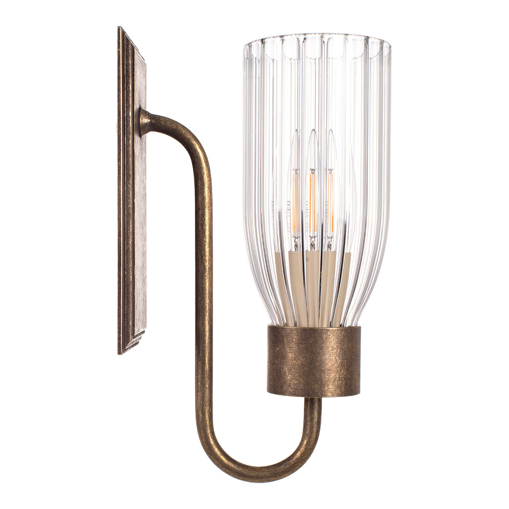 Single Morston Wall Light, Antiqued Brass, Fluted Glass