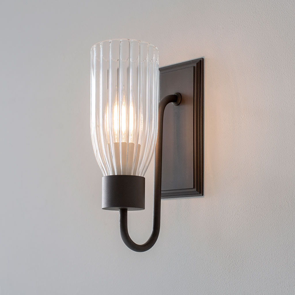 Single Morston Light in Beeswax, Fluted Glass