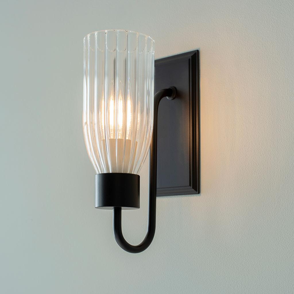 Black Fluted Glass Single Morston Wall Lights Jim Lawrence