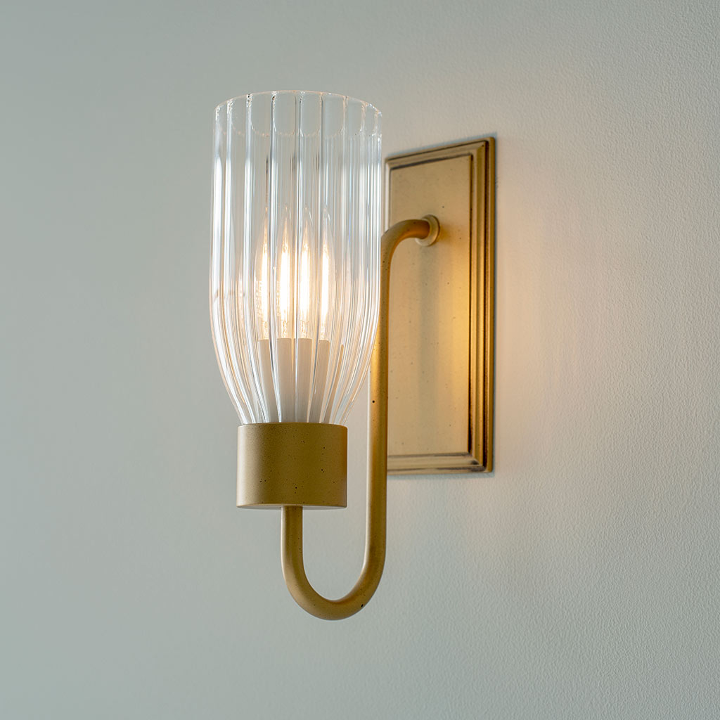 Single Morston Wall Light in Old Gold with FlutedGlass