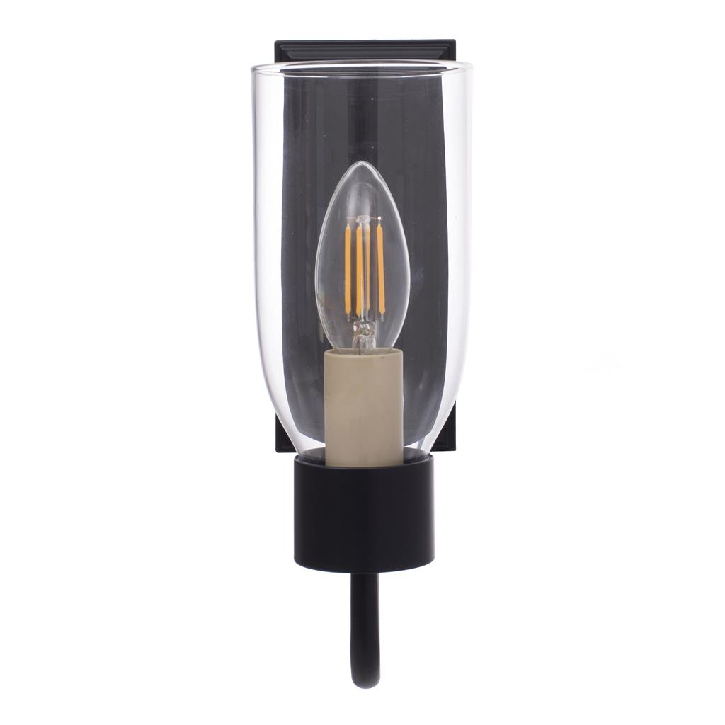 Single Morston Wall Light in Matt Black with Clear Glass