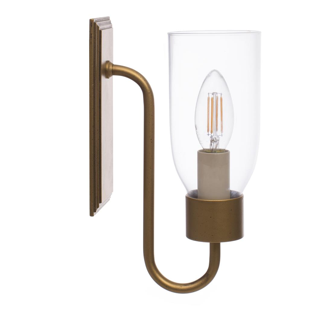 Single Morston Light in Old Gold, Clear Glass