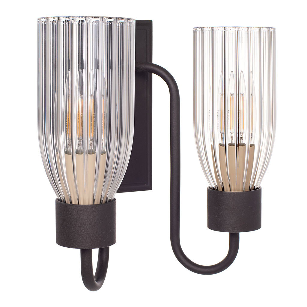 Double Morston Light in Beeswax, Fluted Glass