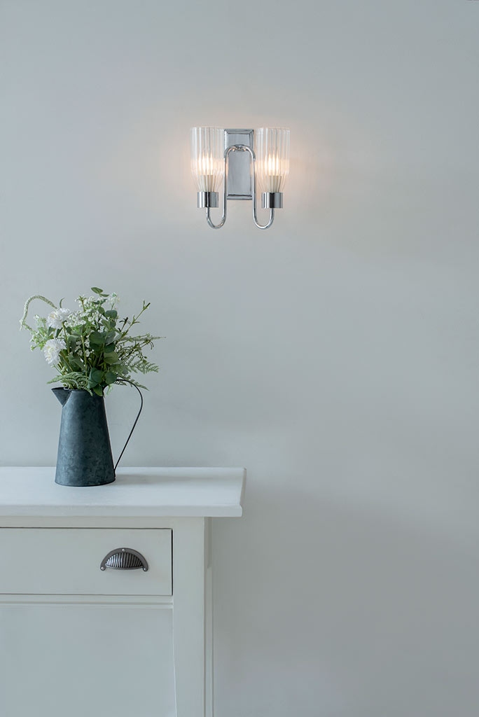Double Morston Wall Light in Nickel Plate, Fluted Glass