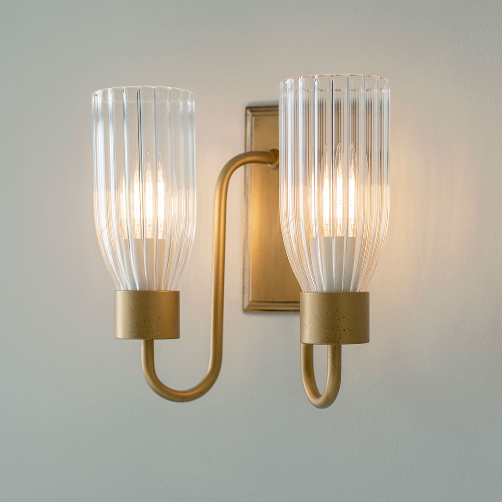 Double Morston Light in Old Gold, Fluted Glass