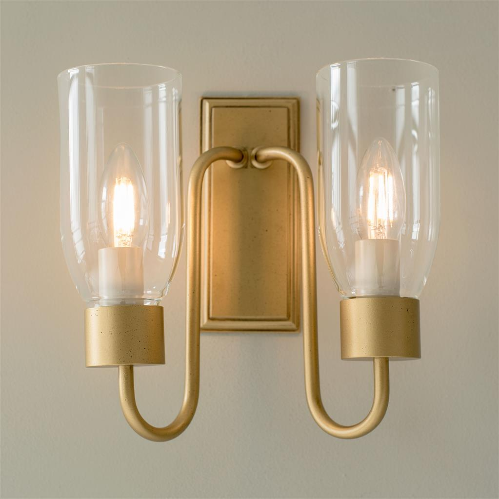 Double Morston Wall Light in Old Gold with Clear Glass