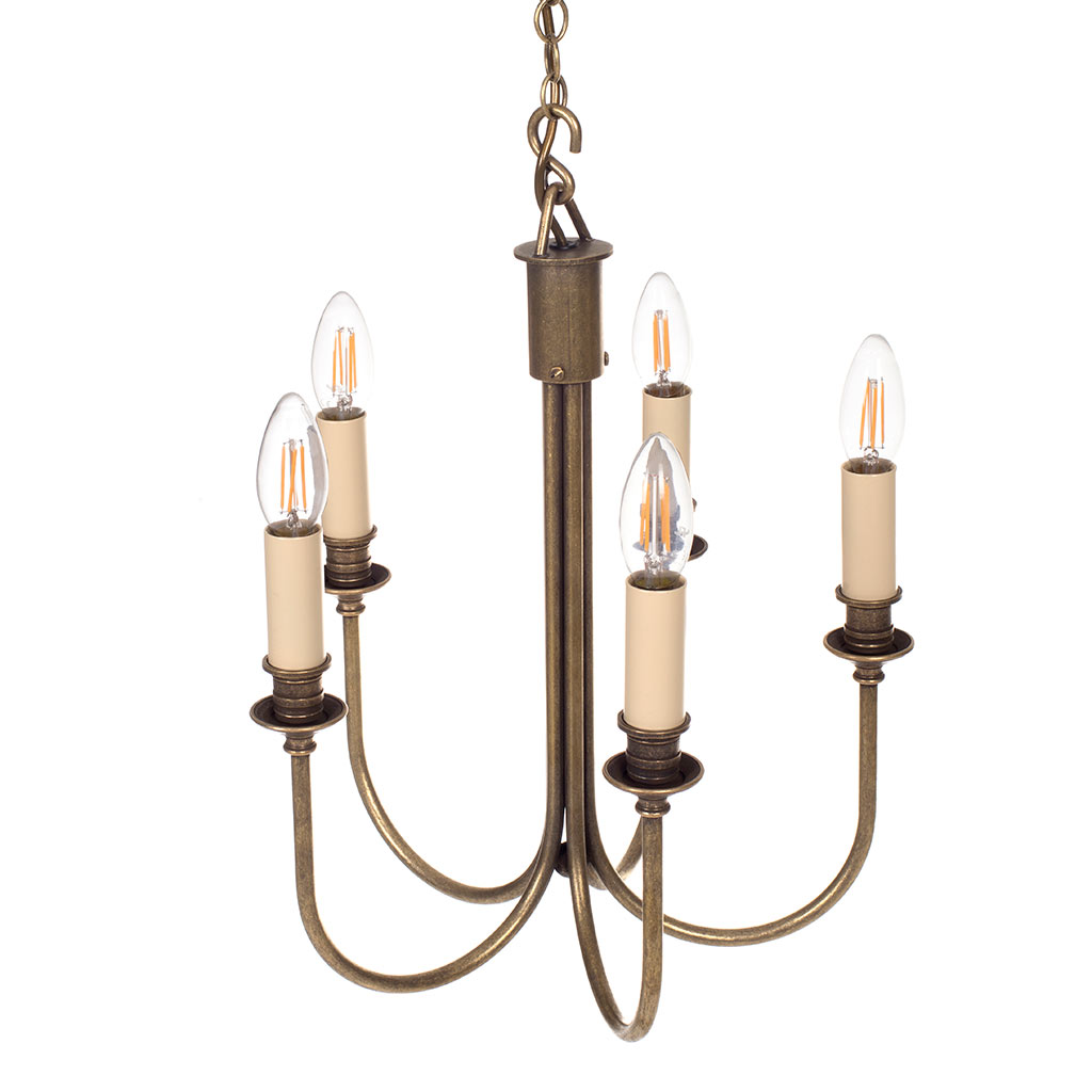 Carlisle Five Arm Pendant Light in Antiqued Brass