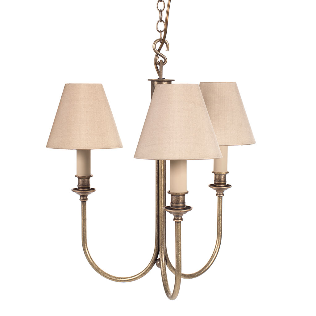 Carlisle Three Arm Pendant Light in Antiqued Brass