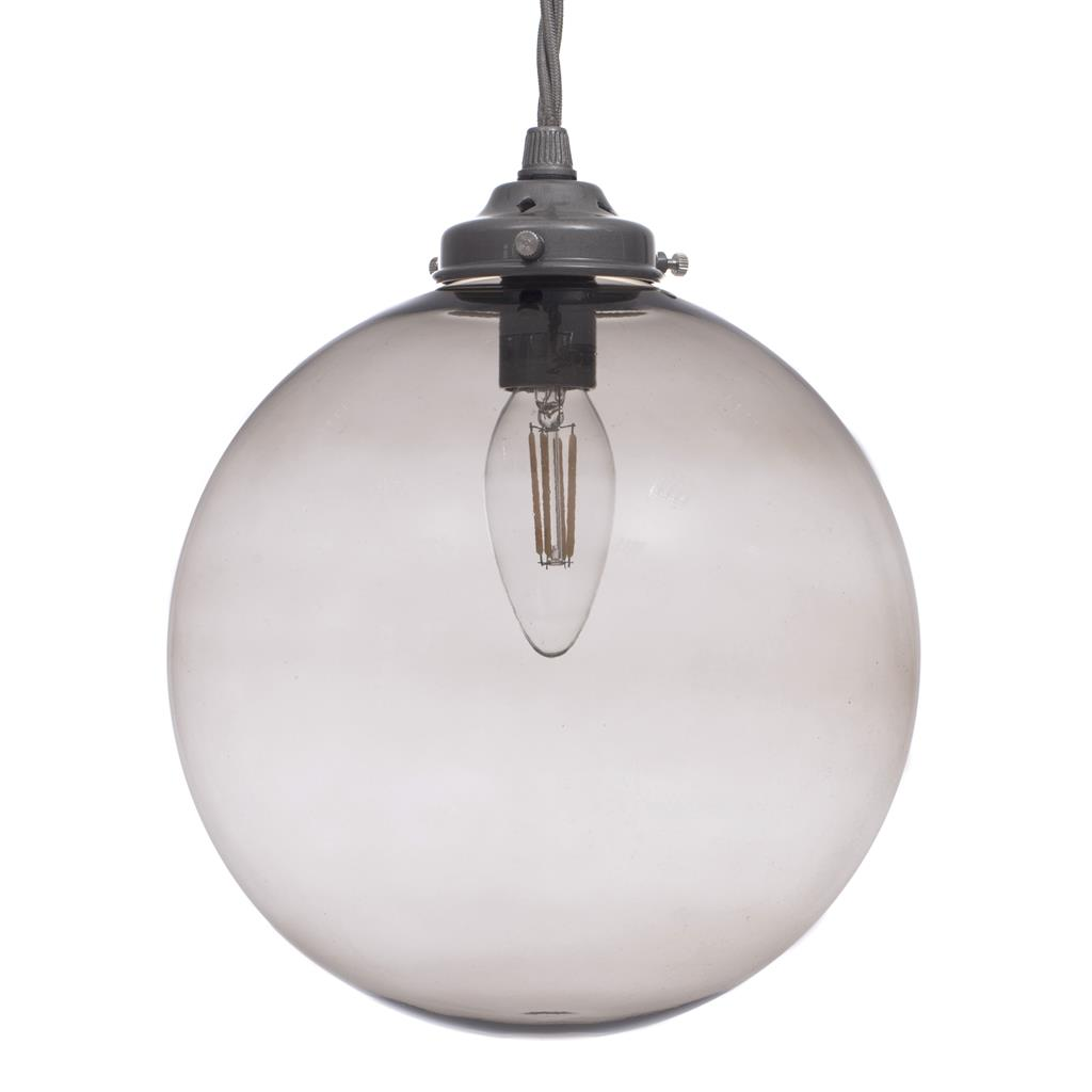 Holborn Charcoal Coloured Glass Pendant Light in Polished
