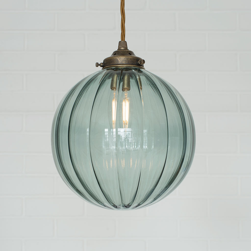 Fulbourn Greeny Blue Pendant in Antiqued Brass