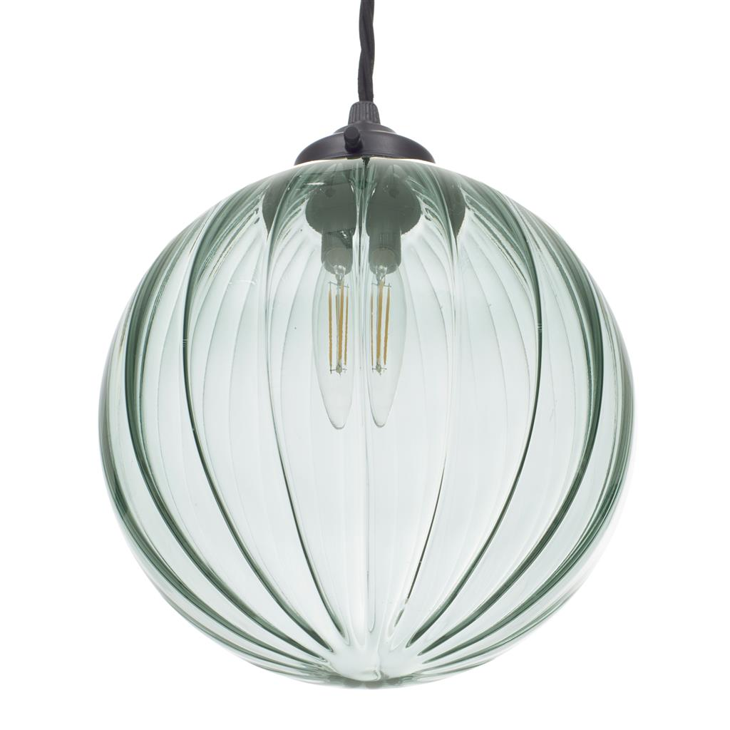Fulbourn Greeny Blue Coloured Glass Pendant Lightin Matt Black
