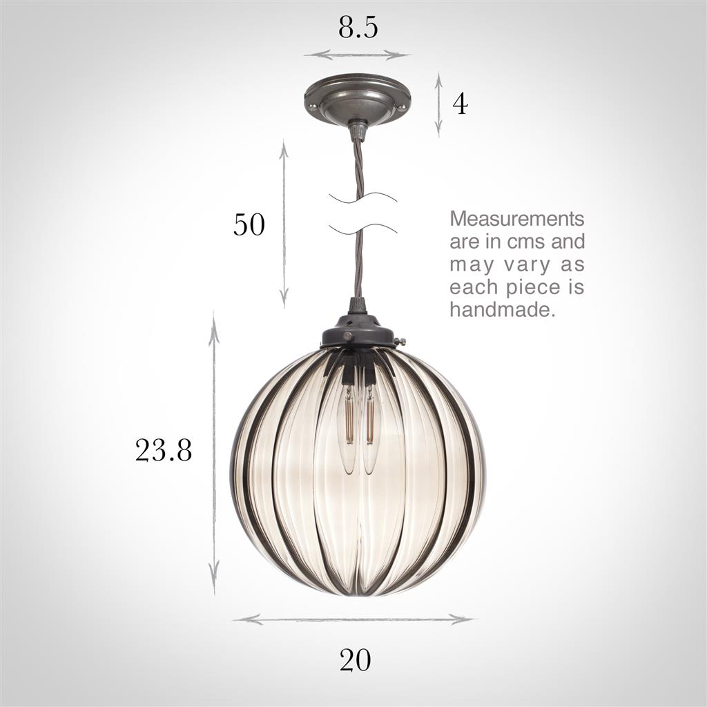 Fulbourn Charcoal Coloured Glass Pendant Light in Polished