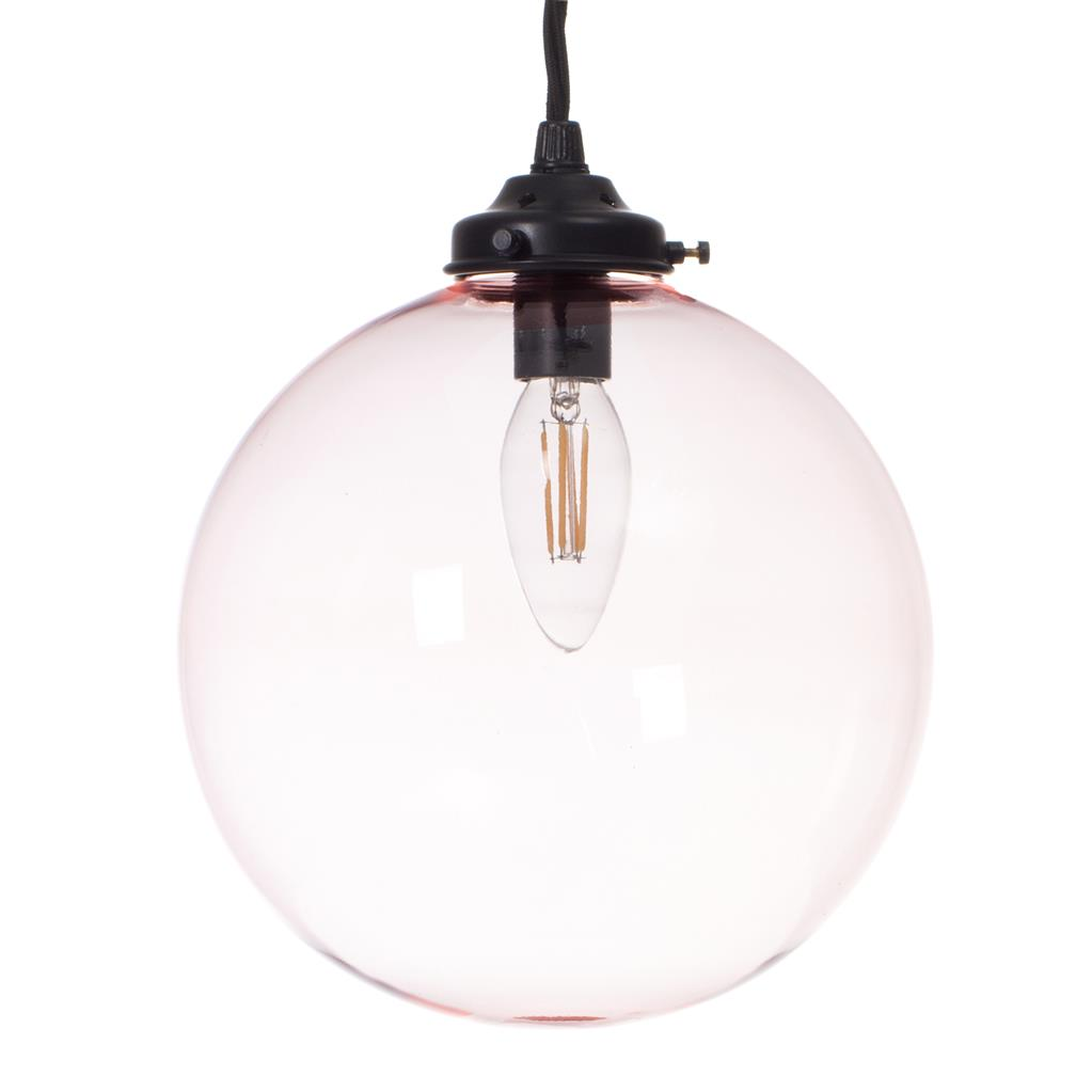 Holborn Dusky Pink Coloured Glass Pendant Lightin Matt Black