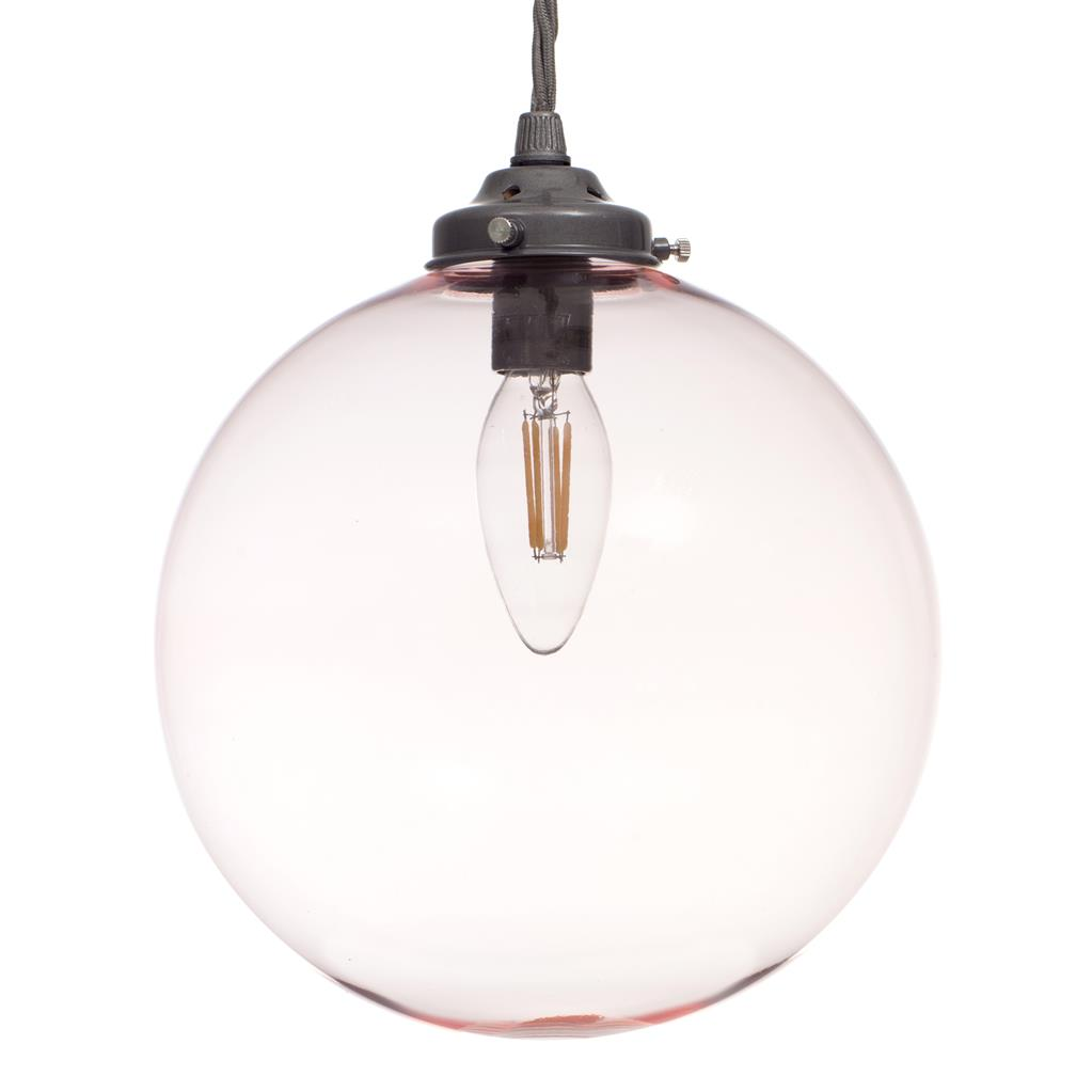 Holborn Dusky Pink Glass Pendant in Polished