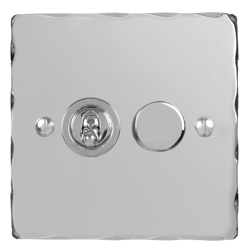 2 Gang Chrome Dolly/Rotary Dimmer Switch NickelHammered Plate