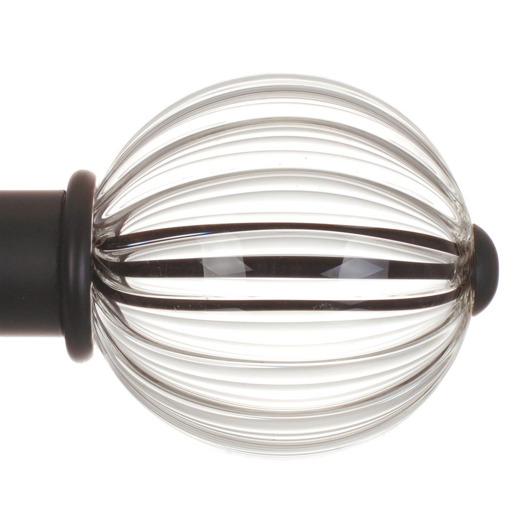 Fluted Glass Ball Finial for 38mm Pole in MattBlack