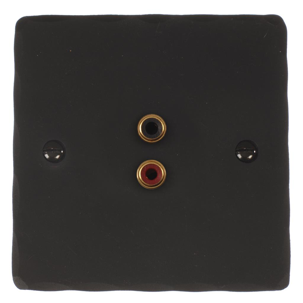1 Gang Audio Visual Outlet Beeswax Hammered Plate